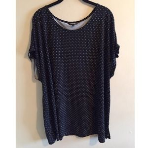 Black Short Sleeve Top with White Dots